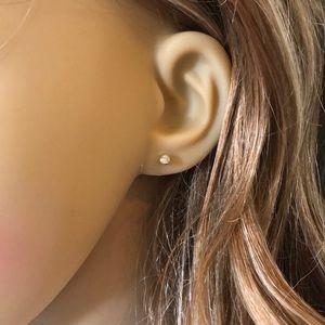 14K Solid Gold Mini CZ Stud Earring Minimalist